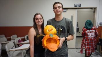 Chris and Serena with their pumpkin!